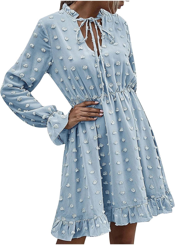 Kidyawn Women's Summer Dresses Casual O Neck Solid Color Ruffle Long Sleeve Belt Short Dress