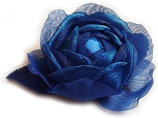 Spilla a forma di fiore in organza, colore Blu royal