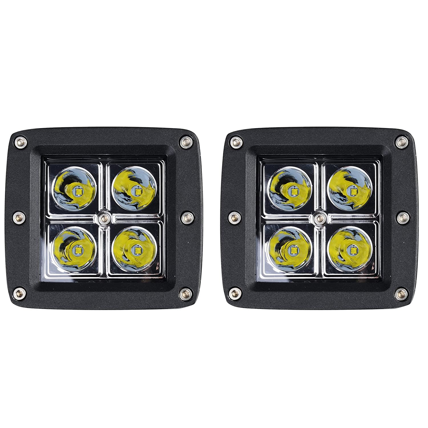 Kawell 2 Pack 16W SPOT Light 1000 Lumens 3x3 Pods for Work, Driving, Fog, Safety, 4x4, Atv, Car, Truck, 4wd, Suv, Tractor, Motorcycle, Boat, Quad, Utv, and Auxiliary Lighting