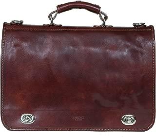 I Medici Cartella Nottolini Italian Leather Briefcase, Messenger Bag in Brown