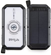 Braxus Solar Power Bank, 8,000mAh Portable Solar Charger, Qi Wireless Solar Charger for Cell Phone, 3 USB Ports, Solar Charger Power Bank w/ 3 LED flashlights Settings, Water Resistant & Shockproof
