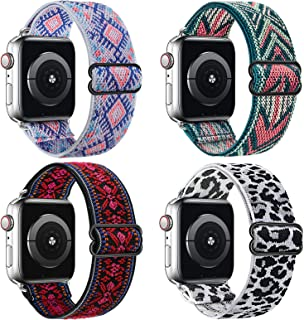 Huishang 4 Pack Adjustable Stretchy Solo Loop Band Compatible with Apple Watch Bands 38mm 42mm 40mm 44mm for Women, Boho P...