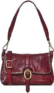 Campomaggi Women's Studded Leather Shoulder Bag Red