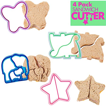 Sandwich Cutters for Kids, 4 pk - Cute Bread Crust & Cookie Cutters with Butterfly, Star, Dinosaur & Elephant - Great for School Lunches and Home Baking