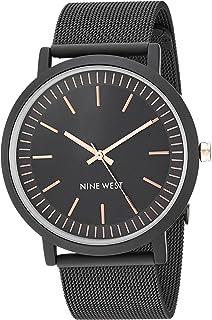 Nine West - Reloj de pulsera de malla de goma para mujer