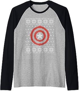 Marvel Captain America Steve Rogers Holiday Sweater Manche Raglan
