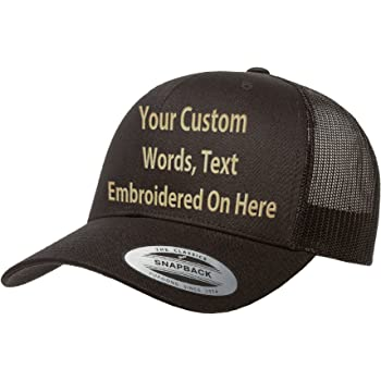 Custom Trucker Flatbill Hat Yupoong 6006 Embroidered Your Text Snapback