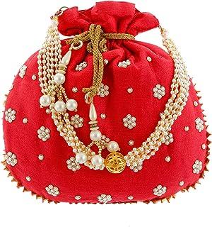 Kuber Industries Ethnic Clutch Silk Potli Batwa Pouch Bag with Beadwork Gift For Women (Pink) - CTKTC23082