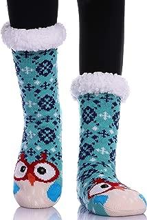 Womens Girls Faux Fur Fuzzy Winter Asymmetric Cartoon Animal Cute Fleece-lined Winter Slipper Socks with Grippers