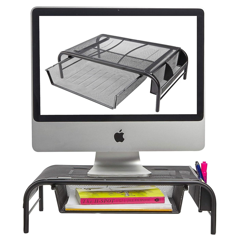 金属显示器支架/Raiser 带拉出抽屉,2 个侧储物隔层,防滑橡胶脚 - 电脑屏幕Riser和桌面收纳架 1 Pack