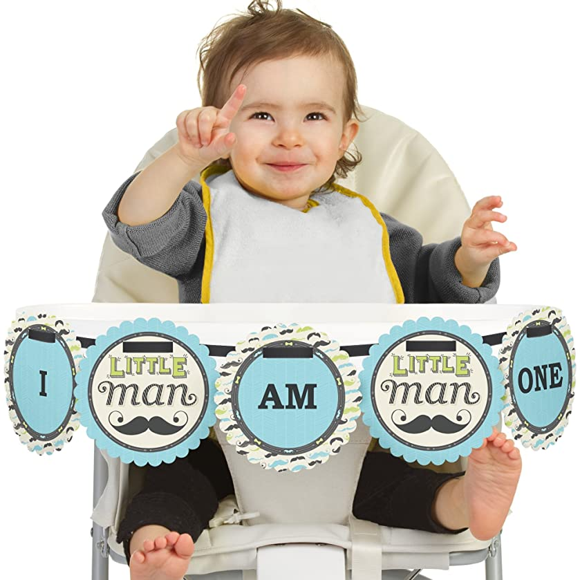 Big Dot of Happiness Dashing Little Man Mustache Party 1st Birthday - I Am One - First Birthday High Chair Banner