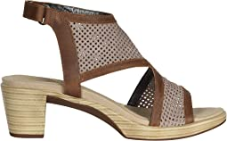 Stone Nubuck Perforated/Saddle Brown Leather