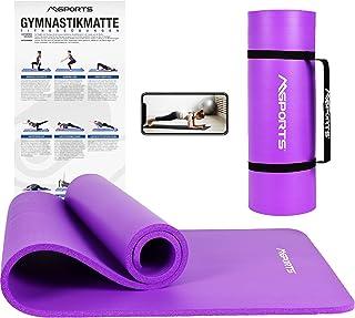 Msports mata gimnastyczna premium, w zestawie pasek do noszenia + plakat z ćwiczeniami + aplikacja treningowa, przyjazna d...