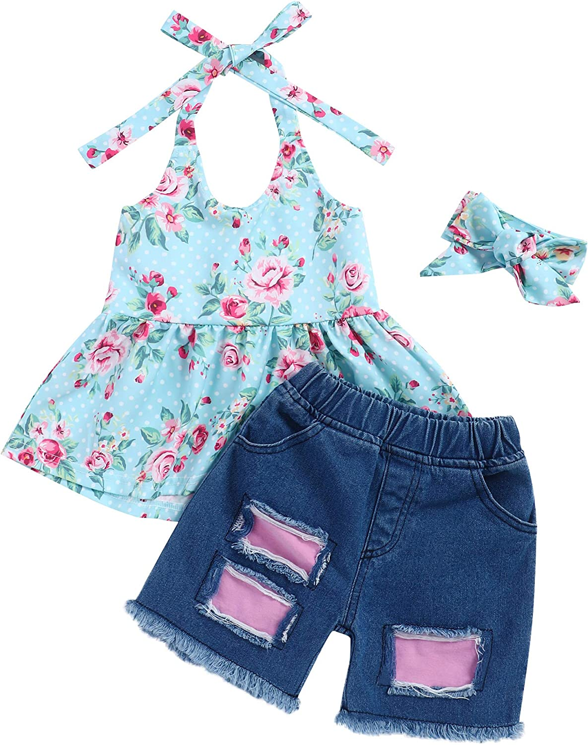 Toddler Baby Girl Summer Clothes Lacing Floral Top Vest Ripped Jeans with Headband Summer Outfit Sets