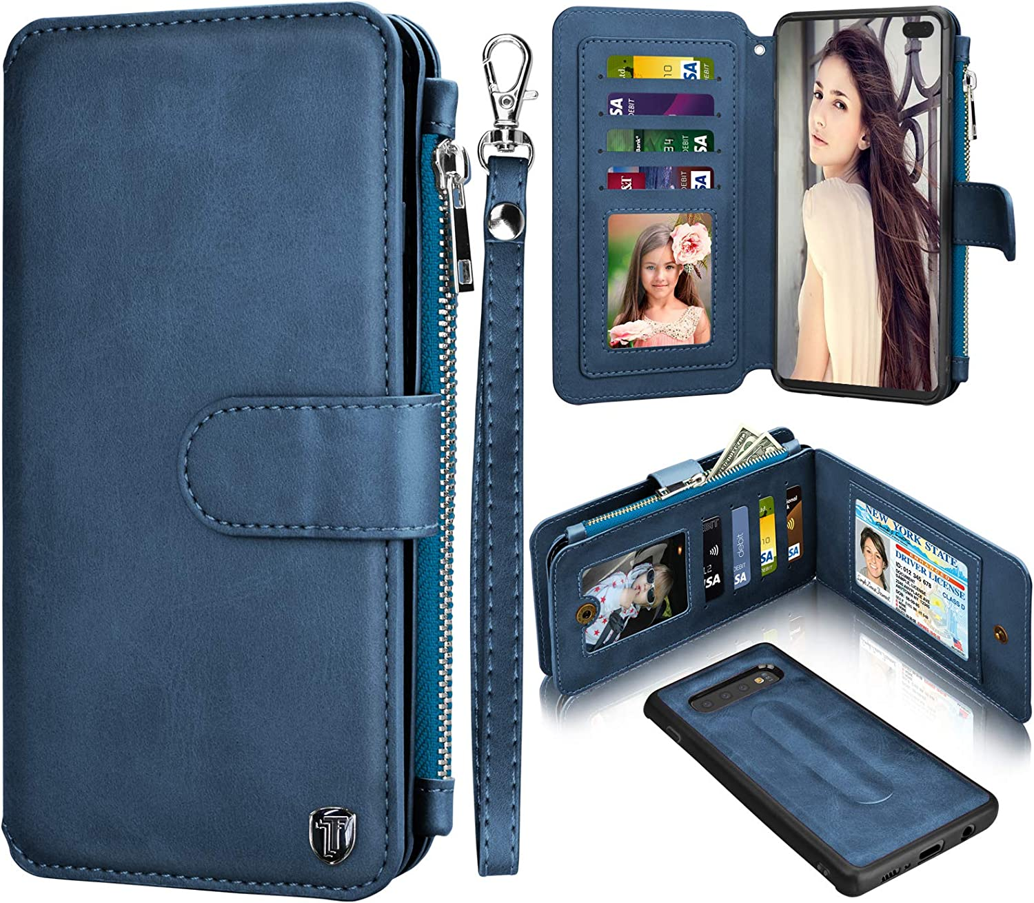 NJJEX Wallet Case for Samsung Galaxy S10 Plus, for Galaxy S10+ S10 Plus Case, PU Leather ID Credit Card Slots Holder Zipper Money Purse Pocket Magnetic Detachable Folio Flip Phone Cover [Dark Blue]