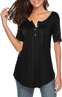 Sarin Mathews Womens Shirts Casual Tee Shirts V Neck Short Sleeve Button Up Tunic Tops Blouses Black 2XL