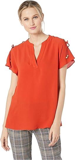Short Sleeve Lace-Up Shoulder Top