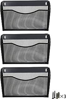 PAG 3 Pockets Hanging File Holder Organizer Metal Wall Mount Magazine Rack, Black