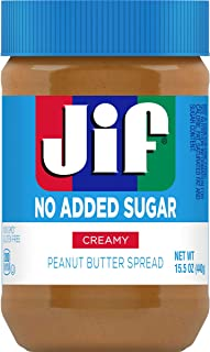 Jif No Added Sugar* Creamy Peanut Butter Spread, 15.5 Ounces (Pack of 12), Smooth, Creamy Texture, No Stir Peanut Butter S...