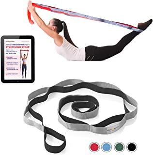 Sport2People Stretching Strap for Yoga, Flexibility, Rehabilitation - 2 Free Exercise Ebooks - Get Flexible with 12-Loop Stretch Band for Rehab, Recommended by Physical Therapists and Trainers