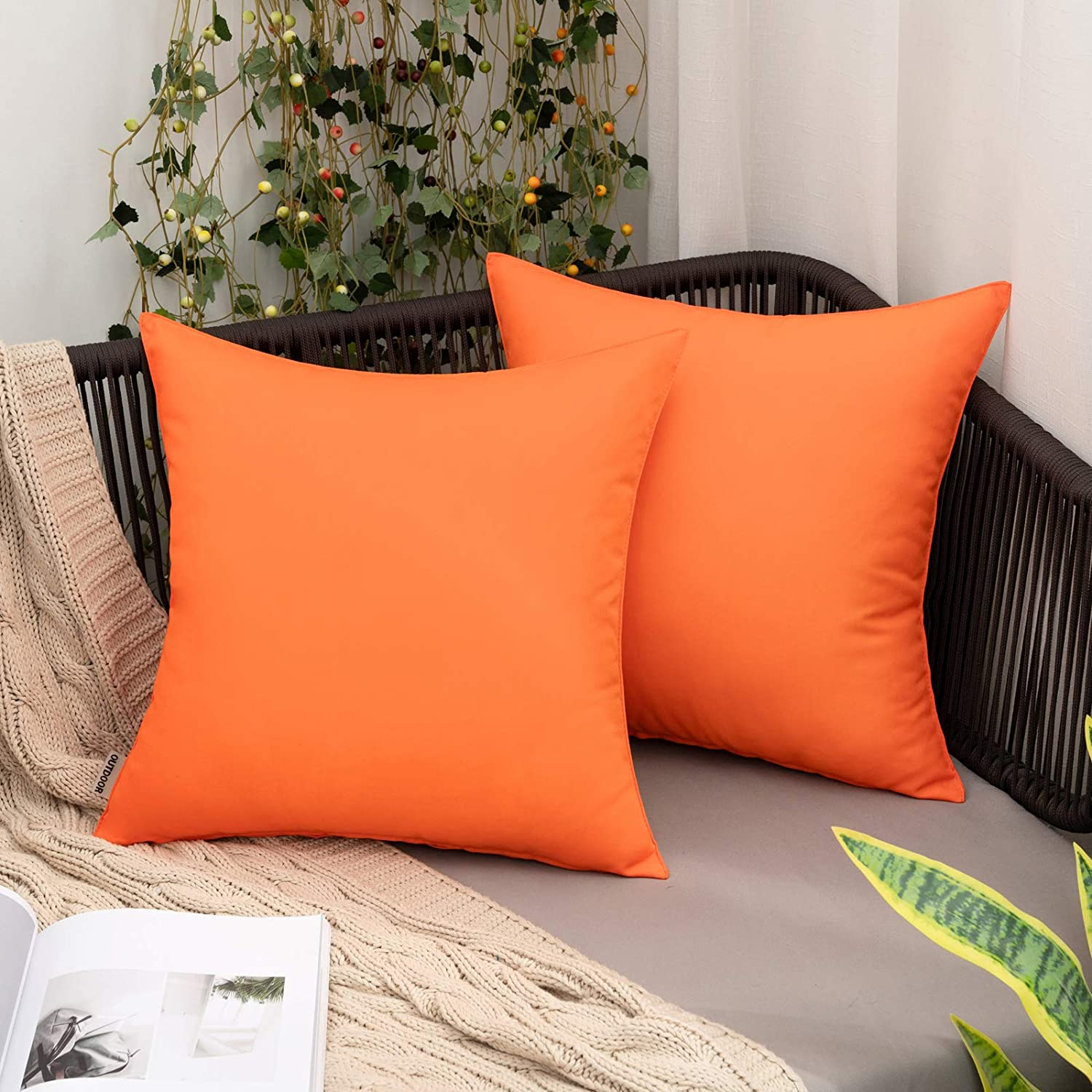 MIULEE Pack of 2 Fees free!! Decorative Mesa Mall Covers Pillow Waterproof Fal Outdoor
