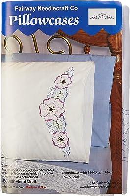 Fairway Needlecraft 83089 Perle Edge Pillowcases, Large Floral Design, Standard, White