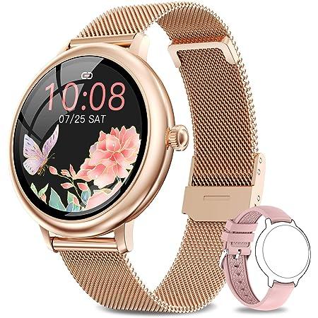 NAIXUES Smartwatch Donna, Orologio Fitness IP67 Impermeabile Smart Watch da Donna Notifiche Messaggi Contapassi Calorie Cardiofrequenzimetro da Polso Activity Tracker per Android iOS Oro Rosa