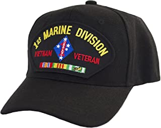 Military Productions 1st Marine Division Vietnam Veteran Cap Black