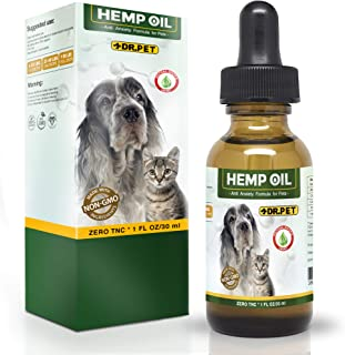 Dr. Pet Hemp Oil for Dogs and Cats   Stress & Anxiety Relief   Advanced Formula   Organic   Supports Hip & Joint Health   Natural Relief for Separation Anxiety