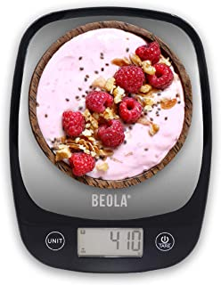 BEOLA Food Kitchen Scales UAE warranty Stainless Steel Digital Scales Measuring Grams and Ounces oz Steel/Black