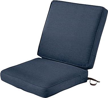 Classic Accessories Montlake Water-Resistant 44 x 20 x 3 Inch Patio Chair Cushion, Heather Indigo