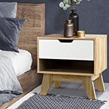Artiss Bedside Table Wooden Side Table 46.5cm Height for Livingroom Bedroom, White & Wood