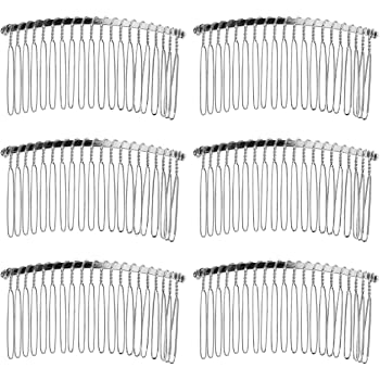 Senkary 10 Pieces Hair Comb Clip Metal Wire Hair Combs Bridal Wedding Veil Combs (20 Teeth, Silver)