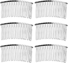 Senkary 10 Pieces Hair Clip Combs Metal Wire Hair Combs Bridal Wedding Veil Combs, 20 Teeth, Silver