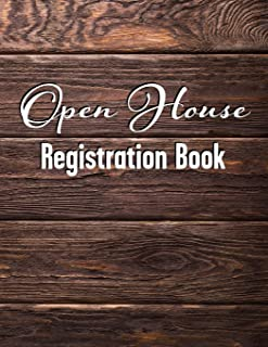 Open House Registration Book: Natural Dark Wood Cover Design - Registry And Log Book For Brokers Agents Home Owners And Se...