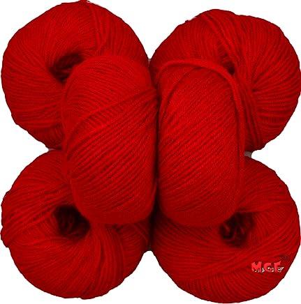 Vardhman Soft Acrylic Woollen Ball Hand Knitting Wool/Art Craft Fingering Crochet Hook Yarn, Needle Thread Dyed (Red) Pack of 6