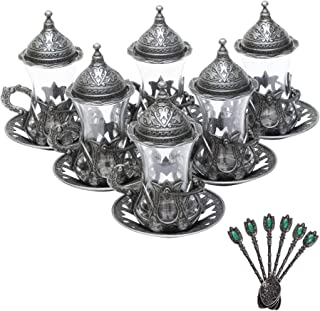 Alisveristime (Set of 6 Handmade Turkish Tea Water Zamzam Serving Set Glasses Saucer and Spoon (Black)