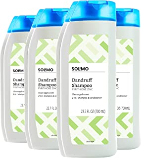 Amazon Brand - Solimo 2-in-1 Dandruff Shampoo and Conditioner, Clean Apple Scent, 23.7 Fluid Ounce (Pack of 4)