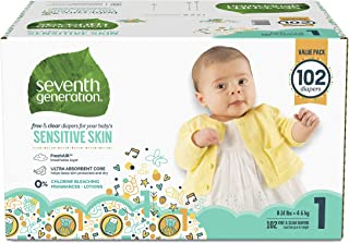 Seventh Generation Baby Diapers for Sensitive Skin, Animal Prints, Size 1, 102 Count (Packaging May Vary)