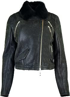 Womens Sheepskin short jacket Ramones with Toscana fur , Leather jacket KKKK-0001