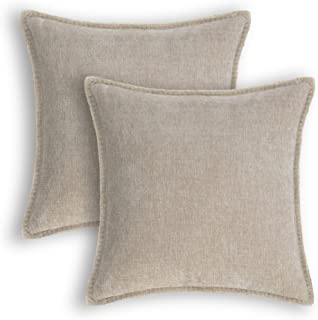 CaliTime Throw Pillow Cases Pack of 2 Cotton Thread Stitching Edges Solid Dyed Soft Chenille Cushion Covers for Couch Sofa...