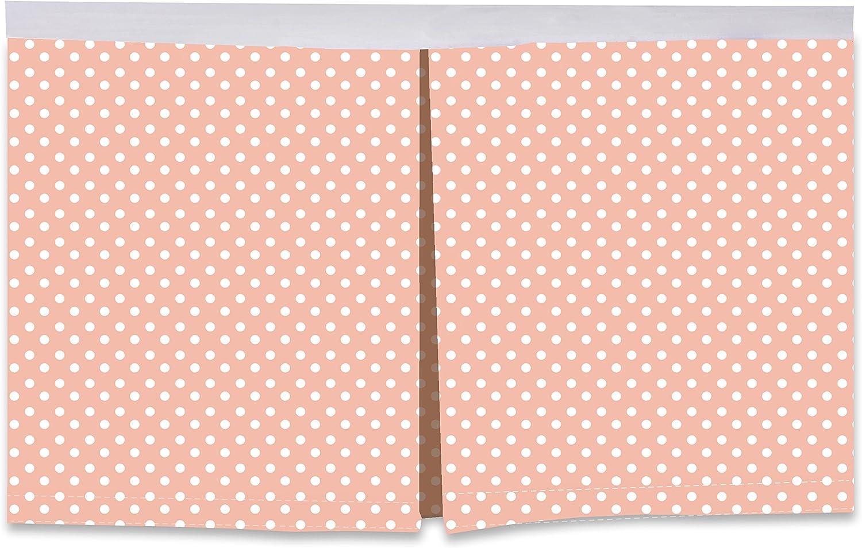 Bacati Pin Dots Crib Toddler Bed Skirt, Coral, 13