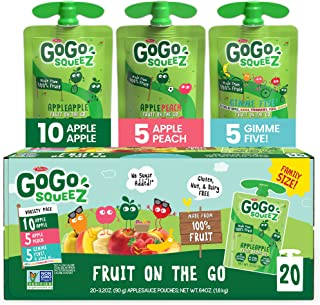 GoGo SqueeZ Applesauce Variety Pack ApplePeachGIMME 3.2 20 Pouches Gluten Free Vegan Friendly Unsweetened Recloseable BPA ...