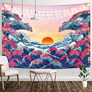 SUNSIST Ocean Wave Tapestry Wall Hanging, 3D Great Wave Wall Tapestry Sunset Japanese Tapestry Home Decorations for Living Room Bedroom Dorm Decor (51.2