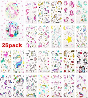 Zooawa Unicorn Temporary Tattoo Sticker, [25 Sheet] Cartoon Party Favor Tattoos Waterproof & Removable Body Stickers Livel...