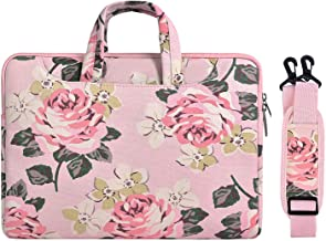 MOSISO Laptop Shoulder Bag Compatible with 2019 2018 MacBook Air 13 inch Retina Display A1932, 13 inch MacBook Pro A2159 A1989 A1706 A1708, Canvas Rose Pattern Carrying Briefcase Handbag Sleeve, Pink
