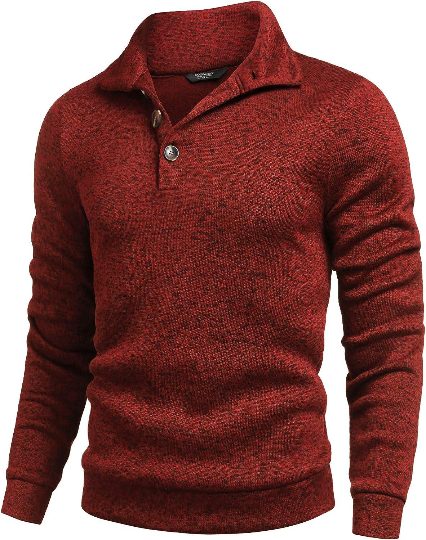 COOFANDY Max 58% OFF Men Casual Knit Pullover Slim Thermal Fa Sweatshirt Fit Elegant