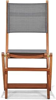 Chillvert 50021001155465 - Silla Plegable Textileno y Madera Eucalipto 50,65 x 49,60 x 93,20 cm