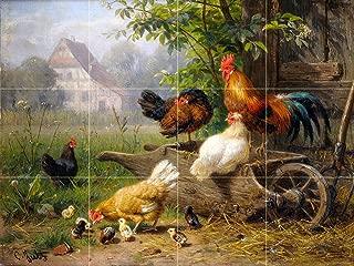 Tile Mural Farm Rooster Chickens by Carl Jutz Kitchen Bathroom Shower Wall Backsplash Splashback 4x3 4.25