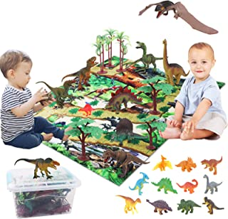 Dinosaur Toys, 22 Realistic Dinosaur Figures with Play Mat, Nests, Fences, Trees, Stones for Creating a Dino World Includi...